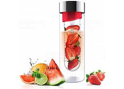 Skleněná láhev s infuserem ASOBU Flavour It red/silver 480ml