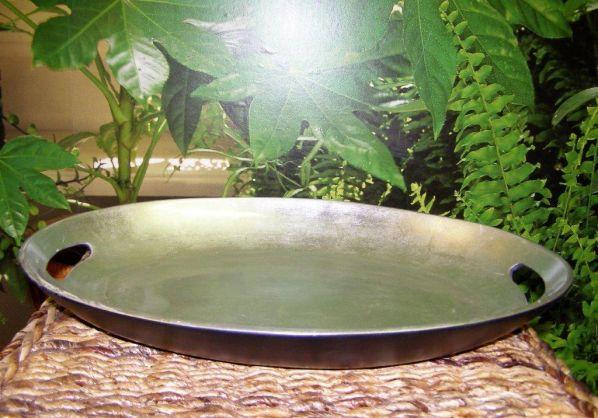 Bambusový podnos s úchytkami - stříbrný