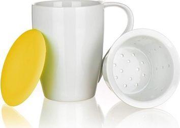 Fotografie BANQUET Hrnek se sítkem a silikonovým víčkem COLOR PLUS Yellow 350 ml