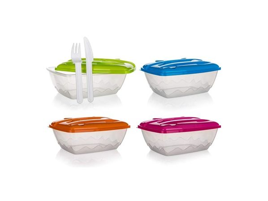 BANQUET Sada jídelní plastová 2,1 l, 3 ks, box a plastový příbor, mix barev