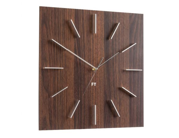 Designové nástěnné hodiny Future Time FT1010WE Square dark natural brown 40cm