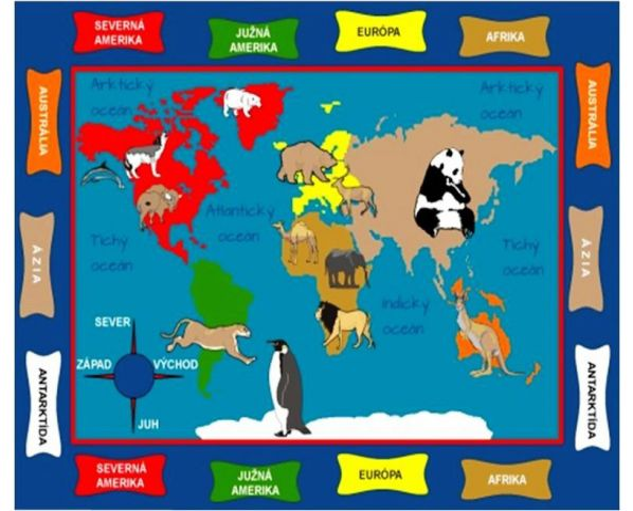 Dětský koberec Mapa zvířat
