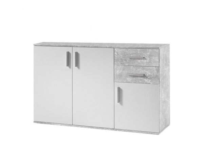 Komoda Chenil 2, bílá / beton