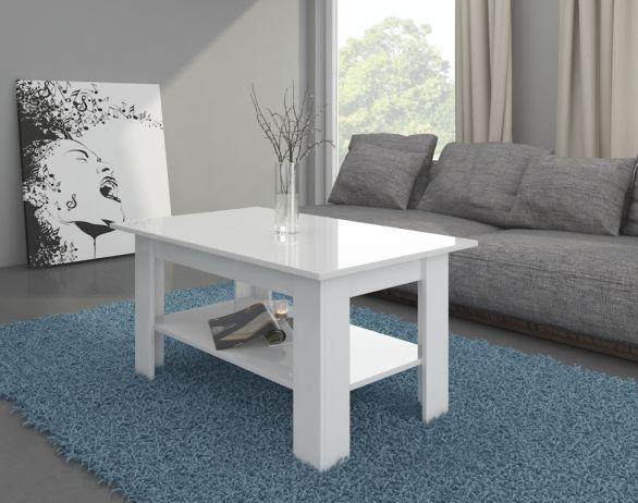 Konferenční stolek Elaiza, bílá / bílý lesk
