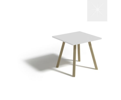 Konferenční stůl ALAN 60, bílý lesk