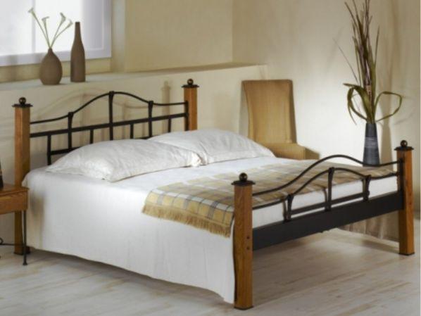 Kovová postel ALCATRAZ 0463 s masivními prvky