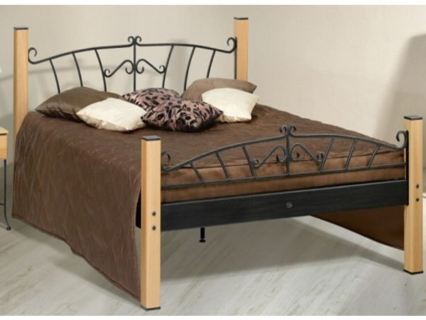Kovová postel ALTEA 0473 s masivními prvky