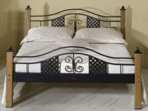 Kovová postel ELBA 0435 s masivními prvky