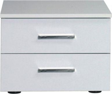 Noční stolek ASIENA 2 ks, bílá / vysoký bílý lesk HG