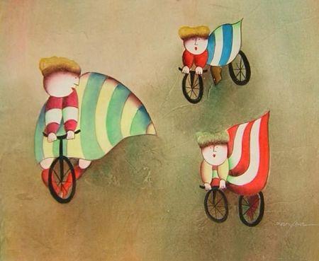 Obraz - Děti na kolech