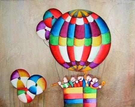 Obraz - Děti v balónu