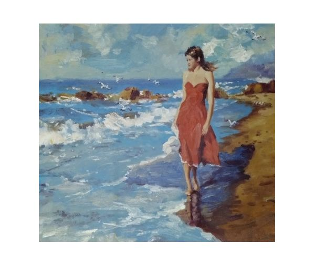 Obraz - Dívka na pláži