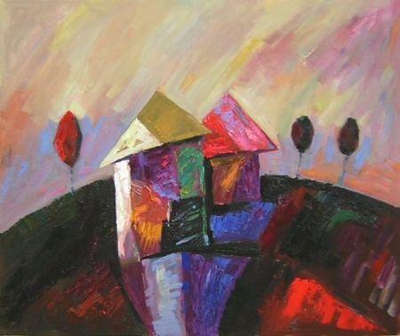 Obraz - Dům na kopci
