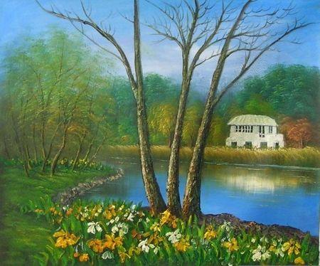 Obraz - Dům u řeky