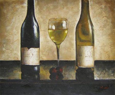 Obraz - Dvě láhve vína se sklenicí