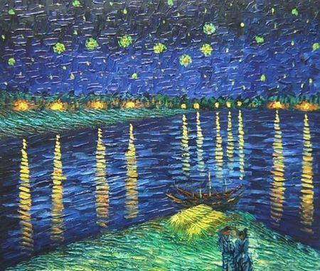 Obraz - Hvězdná noc nad Rhonou