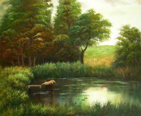 Obraz - Jezírko u lesa