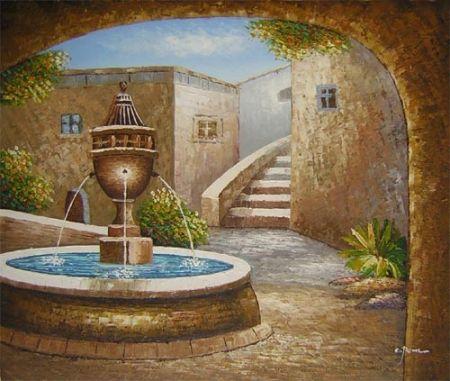 Obraz - Kašna na nádvoří