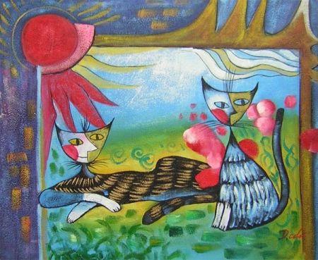 Obraz - Kočičí pár při západu slunce