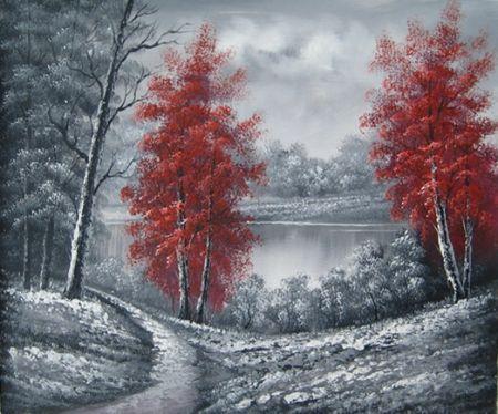 Obraz - Krajina s červenými stromy
