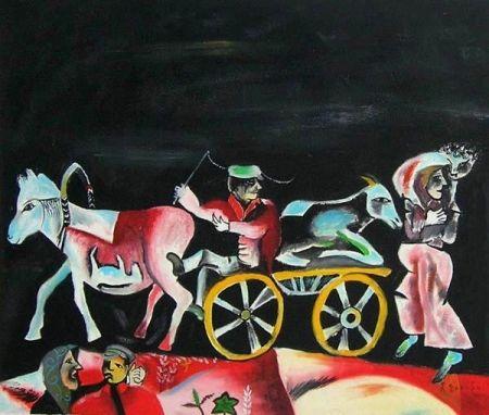 Obraz - Kůň s vlekem