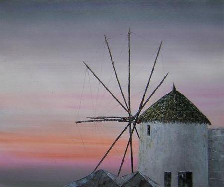Obraz - Mlýn při západu slunce