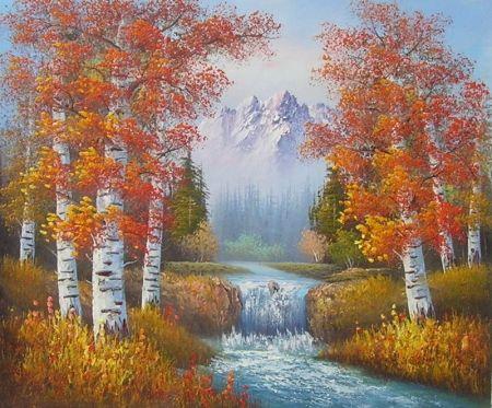 Obraz - Řeka mezi břízkami