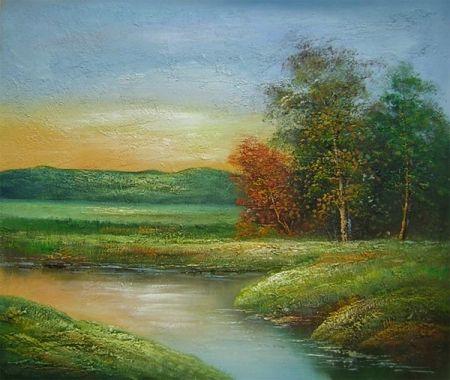 Obraz - Řeka v západu slunce