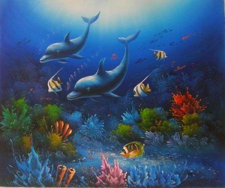 Obraz - Schůzka delfínů