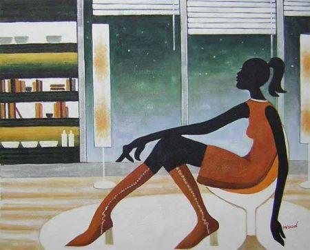 Obraz - Sedící žena v bufetu