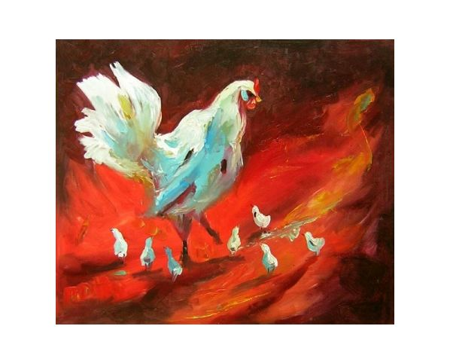 Obraz - Slepice s kuřaty