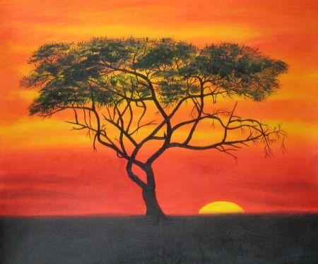 Obraz - Strom v západu slunce