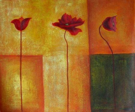 Obraz - Tři červené kytky