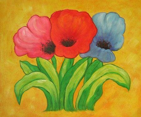 Obraz - Tři rozkvetlé tulipány