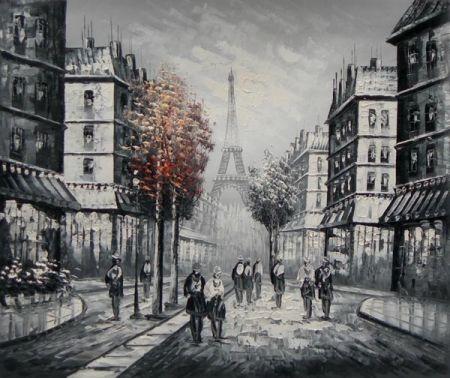 Obraz - Ulice s červenými stromy