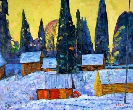 Obraz - Zasněžená vesnice
