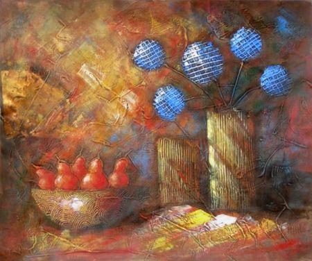 Obraz - Zátiší s modrými květy