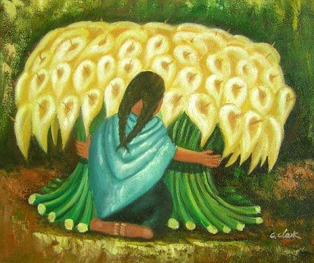 Obraz - Žena s náručí květin