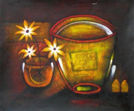 Obraz - Zlatá mísa s květy