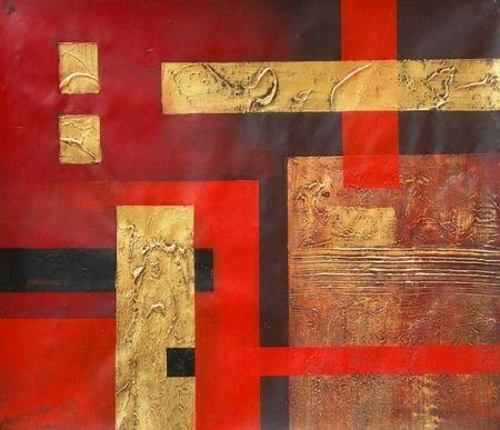 Obraz - Zlaté a červené pruhy