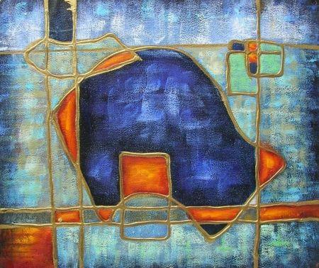 Obraz - Zlaté linky na modré
