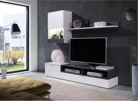 Obývací stěna Caminetto, bílá / sosna tmavá