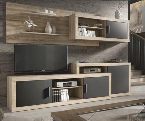 Obývací stěna Espaciosa, dub sonoma / šedá