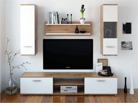 Obývací stěna Vani, dub wotan / bílá