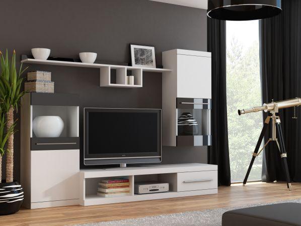 Obývací stěna Nick bílá-černý lesk