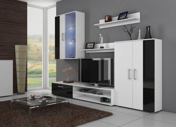 Obývací stěna Stella bílá-černý lesk