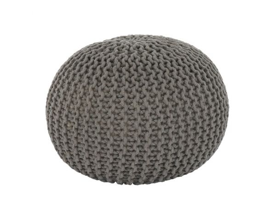 Pletený taburet Mercerie 2, bavlna hnědošedá
