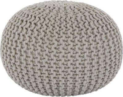 Pletený taburet Mercerie 2, bavlna krémová