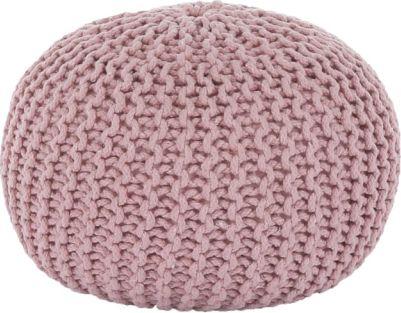 Pletený taburet Mercerie 2, bavlna pudrově růžová
