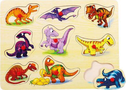 Puzzle na desce, dinosauři